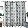 RenteriaDecor Kids Thermal Insulating Blackout Curtain Little Flying Birds and Blue Clouds Smiling Happy Characters Childish Toddler Pattern Patterned Drape for Glass Door W72 x L96 Multicolor
