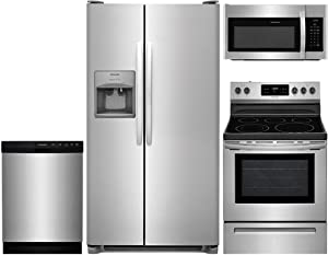"""Frigidaire 4-Piece Stainless Steel Kitchen Package with FFSS2615TS 36"""" Side-by-Side Refrigerator, FFEF3054TS 30"""" Freestanding Electric Range, FFCD2418US 24"""" Full Console Dishwasher and FFMV1645TS 30"""""""
