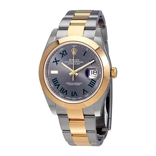 Rolex Datejust 41 - Reloj de pulsera automático para hombre de acero y oro amarillo de 18 quilates 126303GYROL: Amazon.es: Relojes