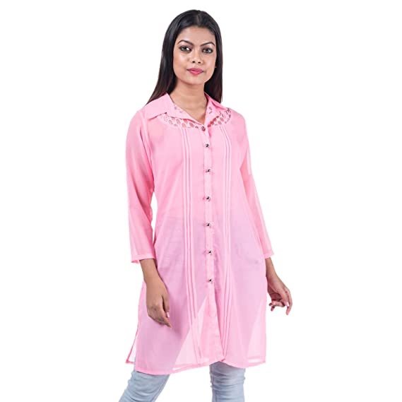 20e853a59b1d44 mamosa Women s Georgette Long and 3 4th Sleeve Shirts Top (Pink ...