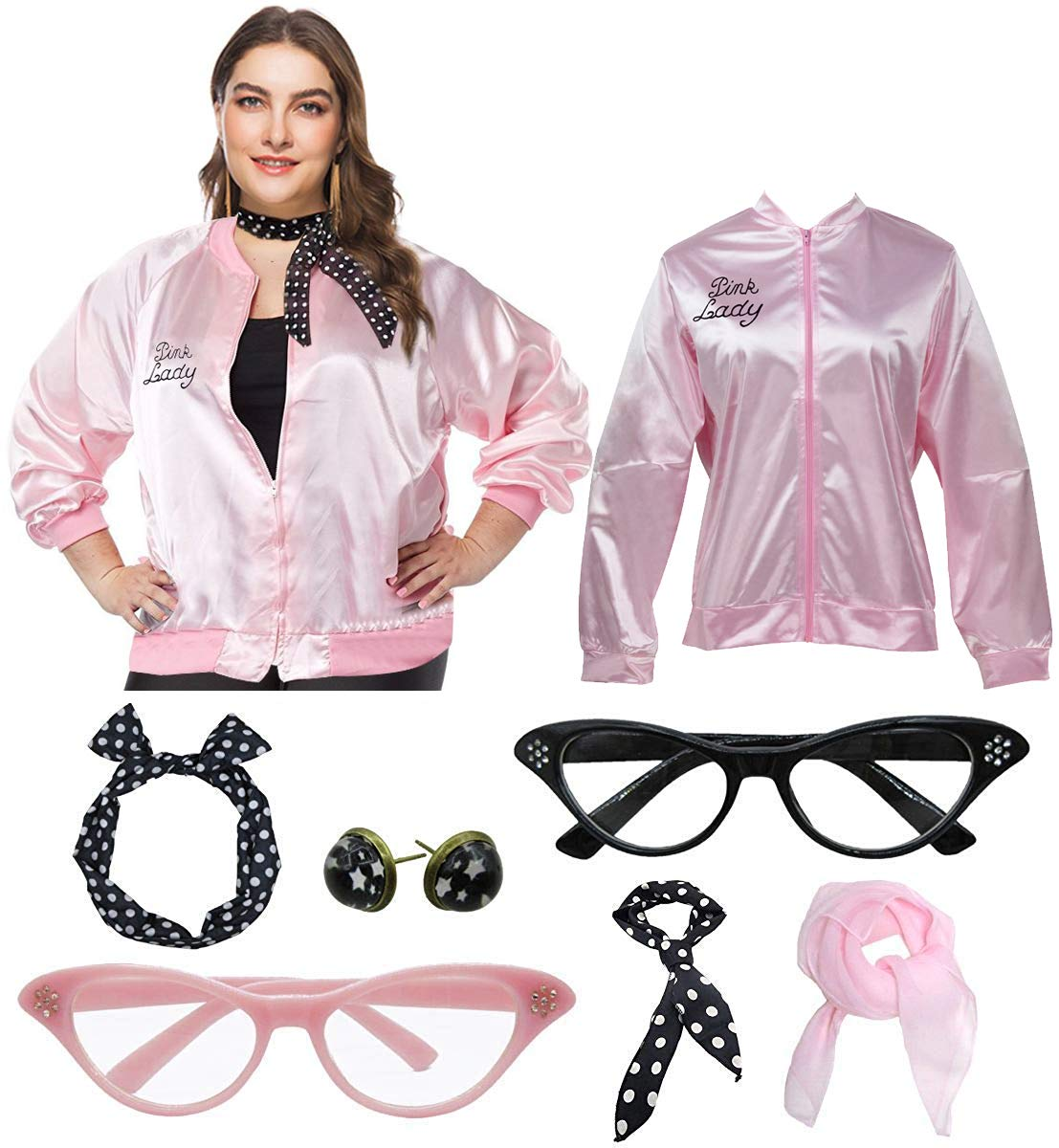 1950s Women Plus Size Pink Ladies Jacket with Cat Eye Glasses Headband Set (Pink, XXL) by Dancing Stone