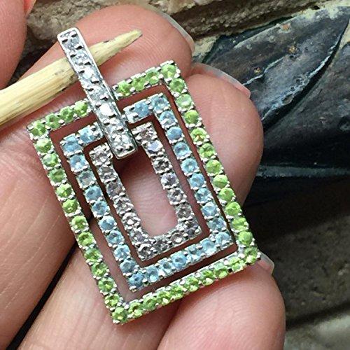 Natural 14ct Purple Amethyst, Apple Green Peridot, Swiss Blue Topaz 925 Solid Sterling Silver Designer Pendant 30mm