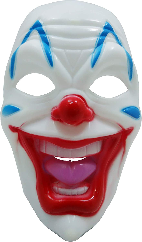 Half Face Clown Eye Mask Scary Jester Red Nose Halloween Fancy Dress Costume