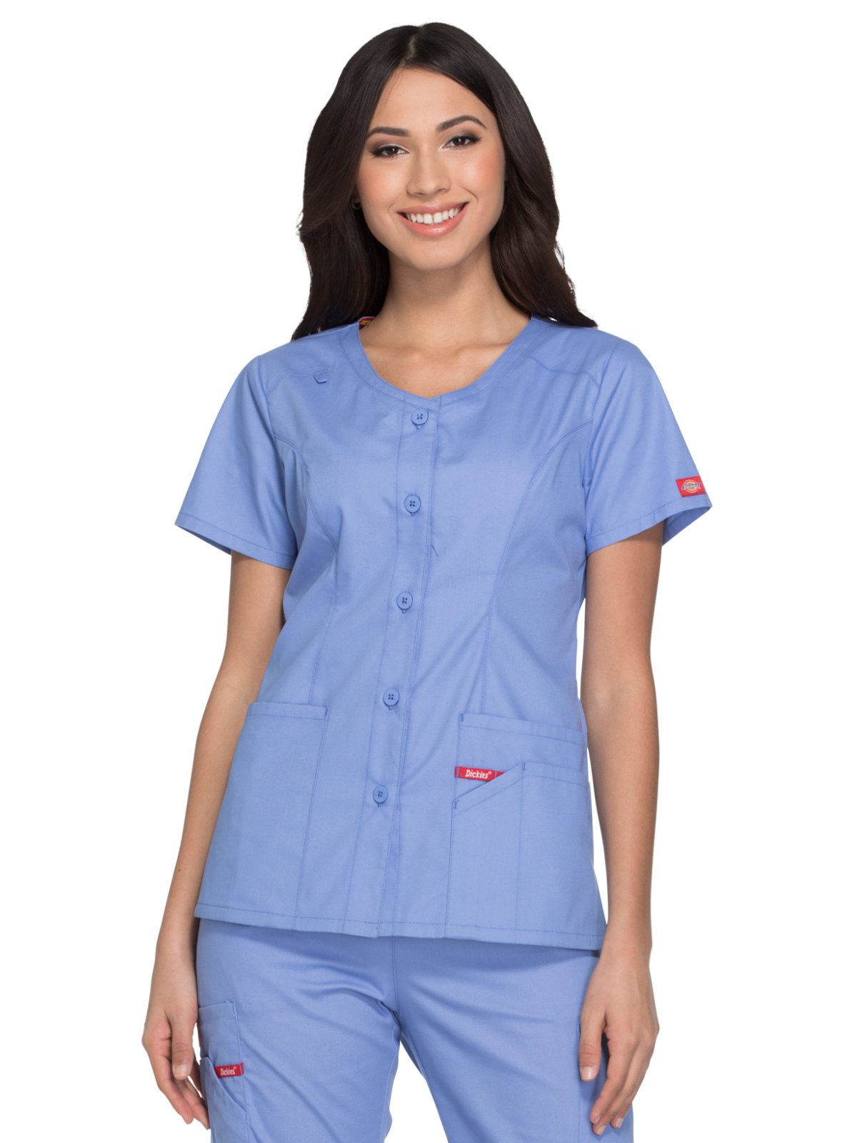 Dickies EDS Signature by Women's V-Neck Solid Scrub Top X-Large Ciel Blue