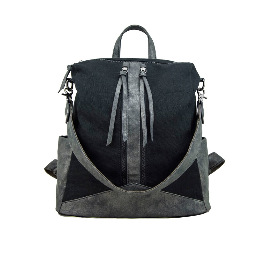 Amazon.com  Purse Backpack for Women, MiCoolker Women s Canvas with PU  Leather Backpack Large Capacity Shoulders Bag Outdoor Travel Bag Black   Sports   ... 885c3ad2ef