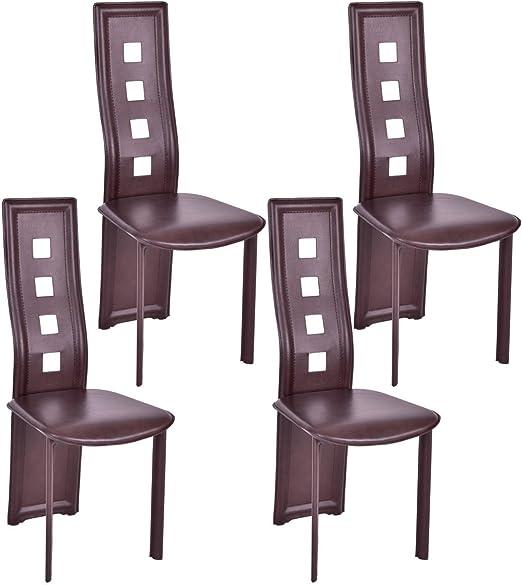 Amazon.com: giantex Conjunto de 4 sillas de comedor piel PU ...