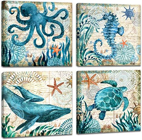Watercolor Seahorse Octopus Pictures Stretched product image