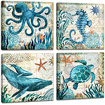 4 Piece Canvas Wall Art Home Wall Decor Art Ocean Watercolor Sea World Animal Home Sea Turtle Seahorse Whale Octopus Pictures Modern Artwork Stretched and Framed Ready to Hang Size:12