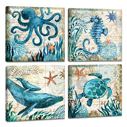 Animals Ocean Pictures - 4 Piece Canvas Wall Art Home Wall Decor Art Ocean Watercolor Sea World Animal Home Sea Turtle Seahorse Whale Octopus Pictures Modern Artwork Stretched and Framed Ready to Hang Size:12