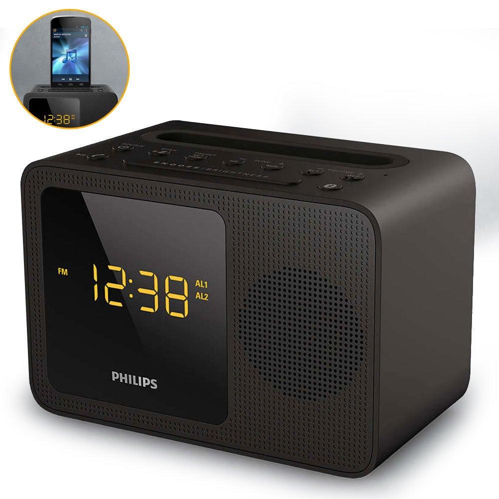 Philips Clock Radio AJT5300 Bluetooth Universal Charging Dual Alarm Fm, Digital Tuning and Speaker Dock for Speakerphone Microphone, Black by Philips