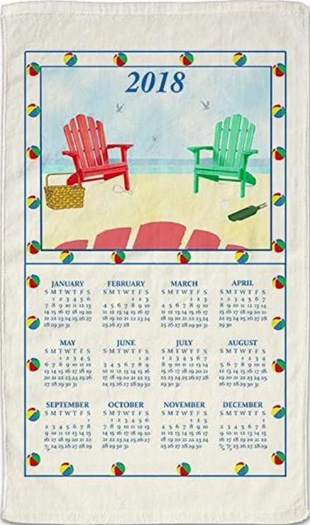 2018 Kitchen Linen Calendar Towel With Dowel For Easy Hanging (Adirondack  Chairs At Beach)