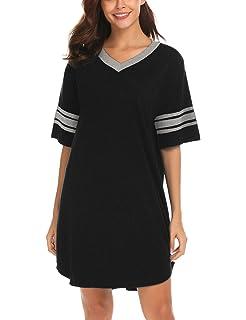b88cacca Ekouaer Women's Nightgown, Cotton Novelty Sleepshirts V Neck Short Sleeve  Sleep Shirt Loose Comfy Pajama