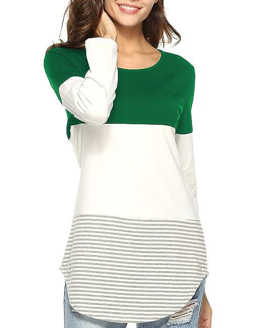 29af60db0da5b Doris Kids Women s Casual Long Sleeve Tunic Top Sweatshirt Color Block T- Shirt Green1 S