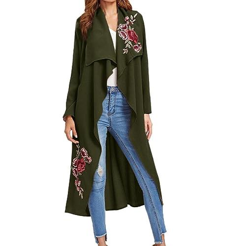 Internet Las mujeres nuevas apliques de manga larga de flores largas cubren la chaqueta delantera ab...