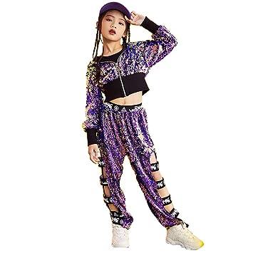 662360de8 MoyuqiTM Girls Boys Modern Jazz Hip-Hop Dancewear Children Kids Dance  Sequins Costumes (120cm