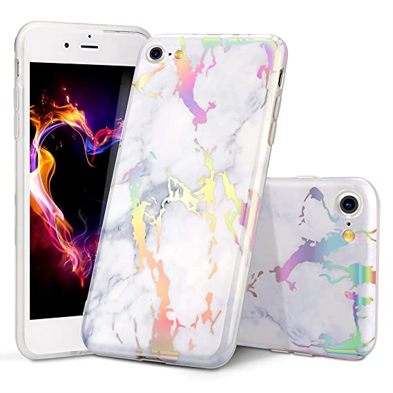 premium selection dcbd6 1af4c iPhone 7 Case, iPhone 8 Case,WORLDMOM iPhone 7/8 Holographic Flash Map  Marble Shock Absorption Technology Bumper Soft TPU Cover Case for iPhone 7  ...