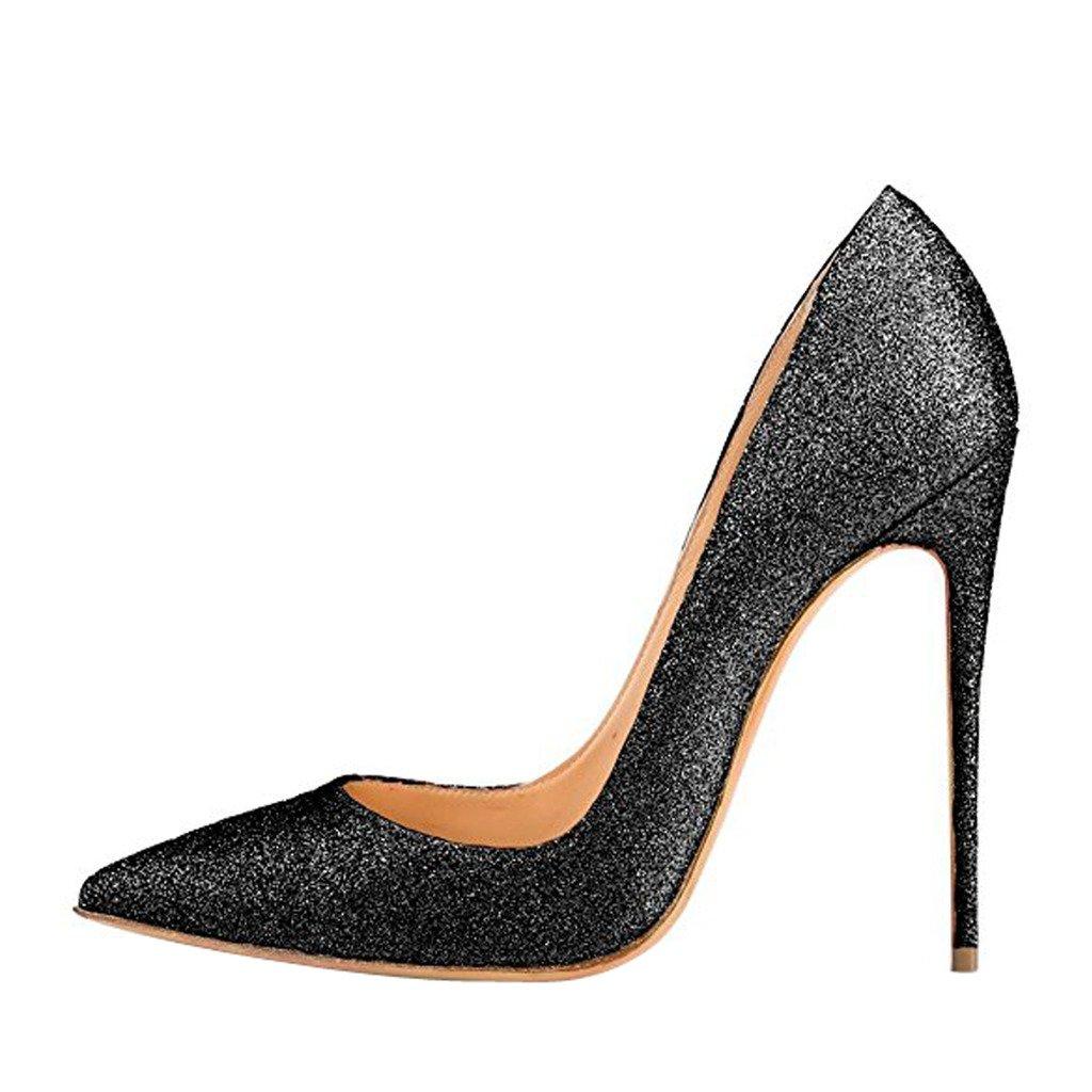 Jushee Damen Sexy Klassische Schwarz Stiletto High Heels Kleid Buuml;ro Pumps35 EU/2 UK/5 US|schwarz04
