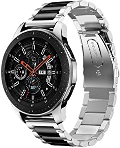iiteeology Compatible for Samsung Galaxy Watch Bands 46mm XL, Stainless Steel Band for Samsung Galaxy Watch SM-800 Smart Watch - Silver/Black XL
