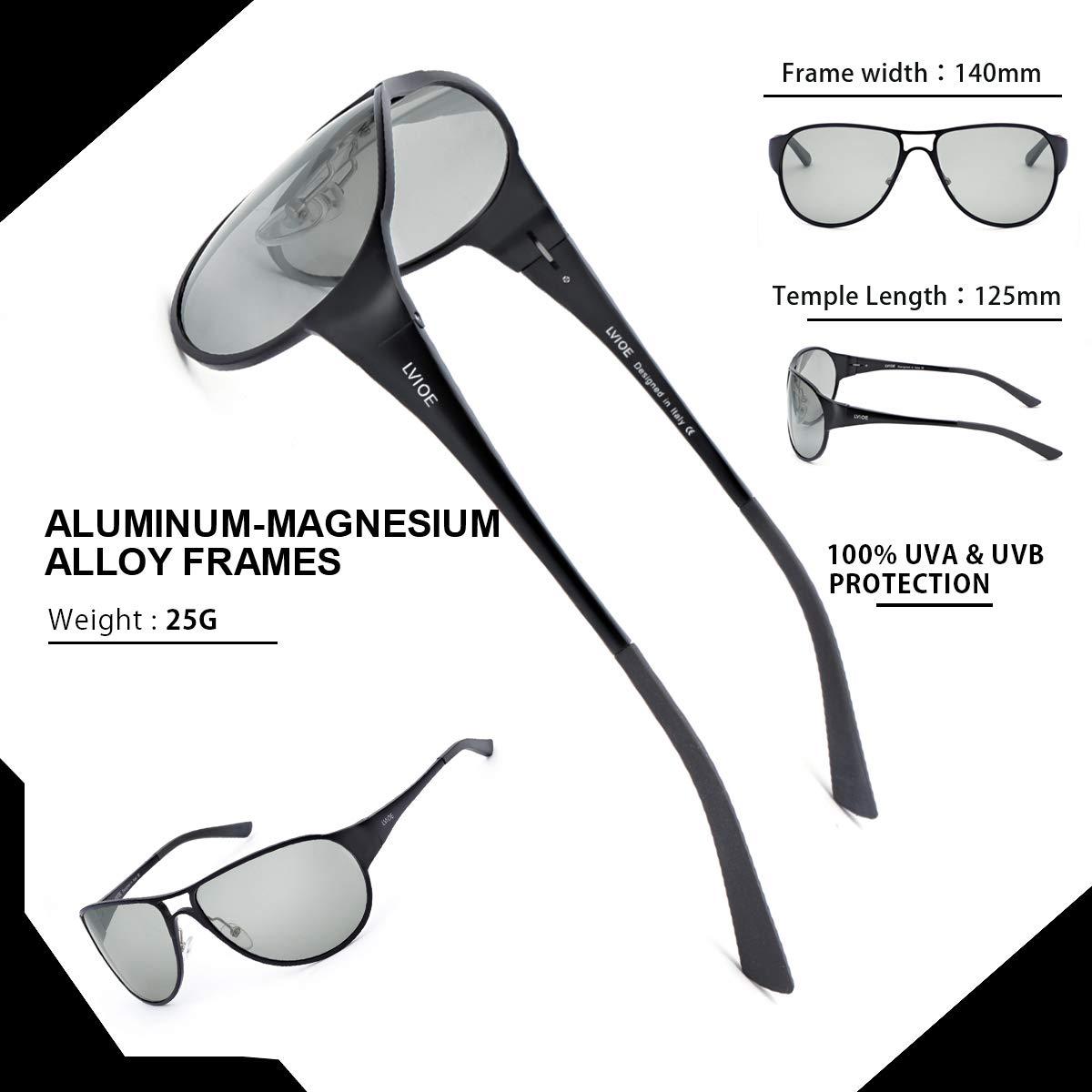 LVIOE Uomo Aviatore Occhiali Da Sole Polarizzate Ultraleggero Cornice Metallica con il Caso Protezione 100/% UVA /& UVB