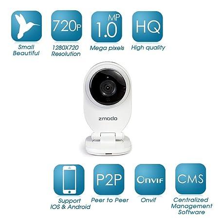 Zmodo 1 0MP 720P Onekey Wireless HD IP Camera with P2P ZH-IXU1D-WAC