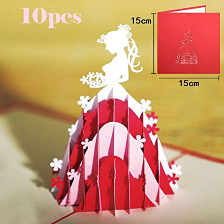 Gold Wedding Card 3D Pop Up Greeting Card Wedding Card with Envelope Folding Card for Wedding Engagement Congratulations Invitation Christmas Valentines Day Cards Gift