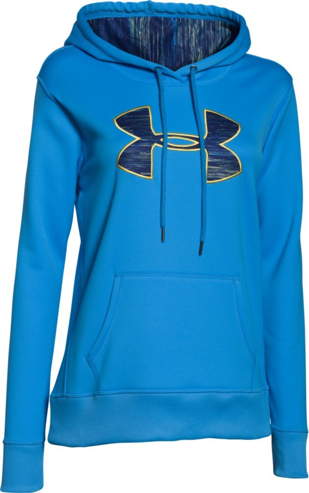 Under Armour Women's Storm Armour Fleece Printed Big Logo Hoodie, Jazz Blue (481)/Misted Yellow, X-Small