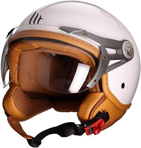 ECE DOT Zertifiziert MOTO HELMETS White Vintage Jet-Helm Pilot Biker Retro Chopper Bobber Vespa-Helmet Cruiser Scooter-Helmet gelb