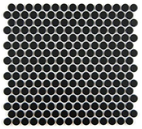 (Vogue Tile Penny Round Black Matte Porcelain Mosaic for Bathroom Floors and Walls, Kitchen Backsplashes, Pool Tile)