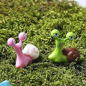 2 pcs Cute Green Snail Miniature Fairy Garden Dollhouse Figurine Shelf Decor Toy