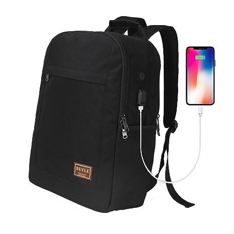 Beyle - Mochila para portátil grande, resistente, con puerto de carga USB, para ordenador de 17 pulgadas (43 cm), delgada, impermeable, ligera, color negro: ...