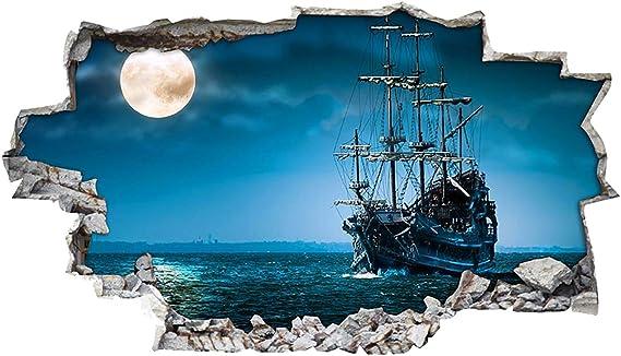 tekkdesigns H110 Barco Pirata mar océano Vida Pared Adhesivo Póster 3D Arte Pegatinas Vinilo habitación (Grande (90 x 52 cm)): Amazon.es: Hogar