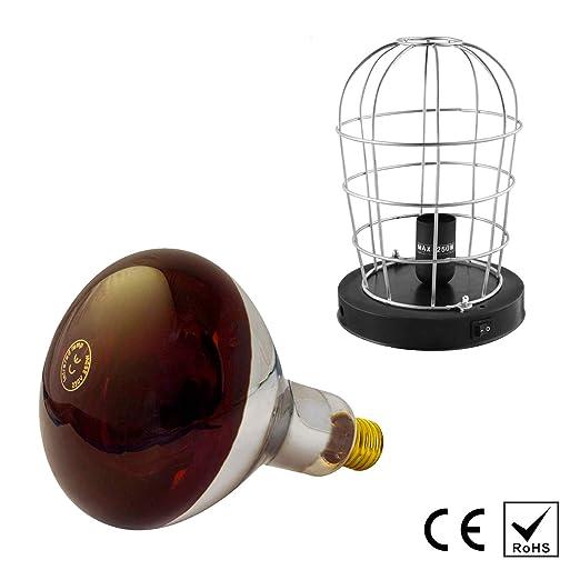 Lámpara Bombilla (Luz Roja) + Estufa Infrarrojos Portatil - Emite Calor - 250W E27 (Infrared Light Bulb + Heater)