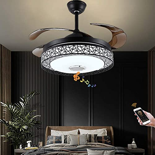 Fandian 42 Modern Ceiling Fans with Light Smart Bluetooth Music Player Chandelier 7 Dimmable Colors 3 Speeds Invisible Blades with Remote Control, Silent Motor with LED Kits Included