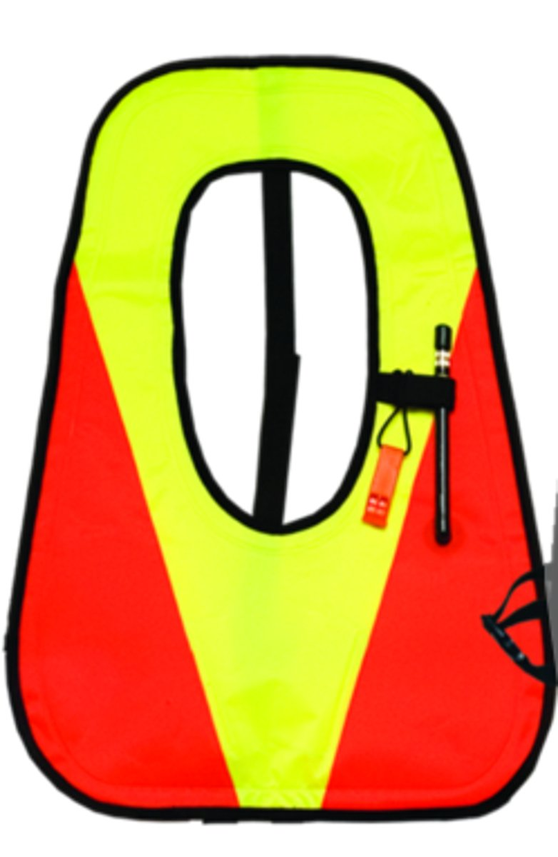 Innovative Deluxe Snorkel Vest with Plastic Valve (Orange/Yellow, X-Large)