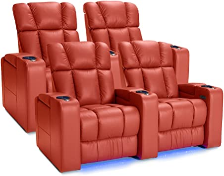 Amazon Com Palliser Collingwood Leather Home Theater Seating Power Recline With Adjustable Powered Headrests Two Rows Of 2 Red Furniture Decor