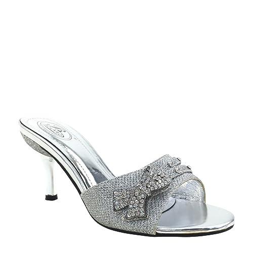 cc1c217edb4 Brieten New Women's Rhinestone Bow Kitten Heel Slides Sandals