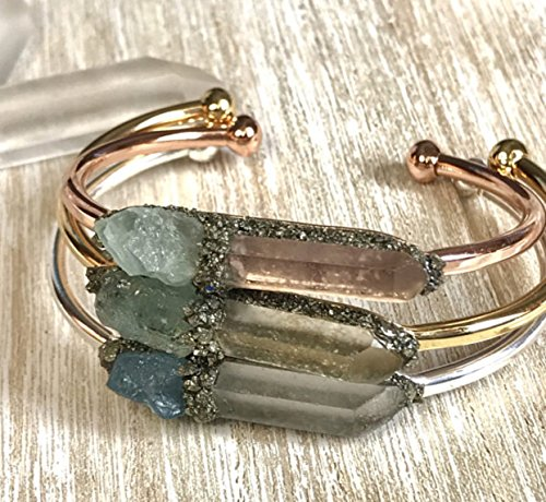 thstone bracelet gemstone bangle crystal cuff birthday raw boho jewelry stone ()
