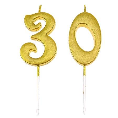 Happyyami Número de cumpleaños número 30 Torta selecciones de Pastel decoración Velas de cumpleaños Topper para Suministros de Fiesta de cumpleaños ...