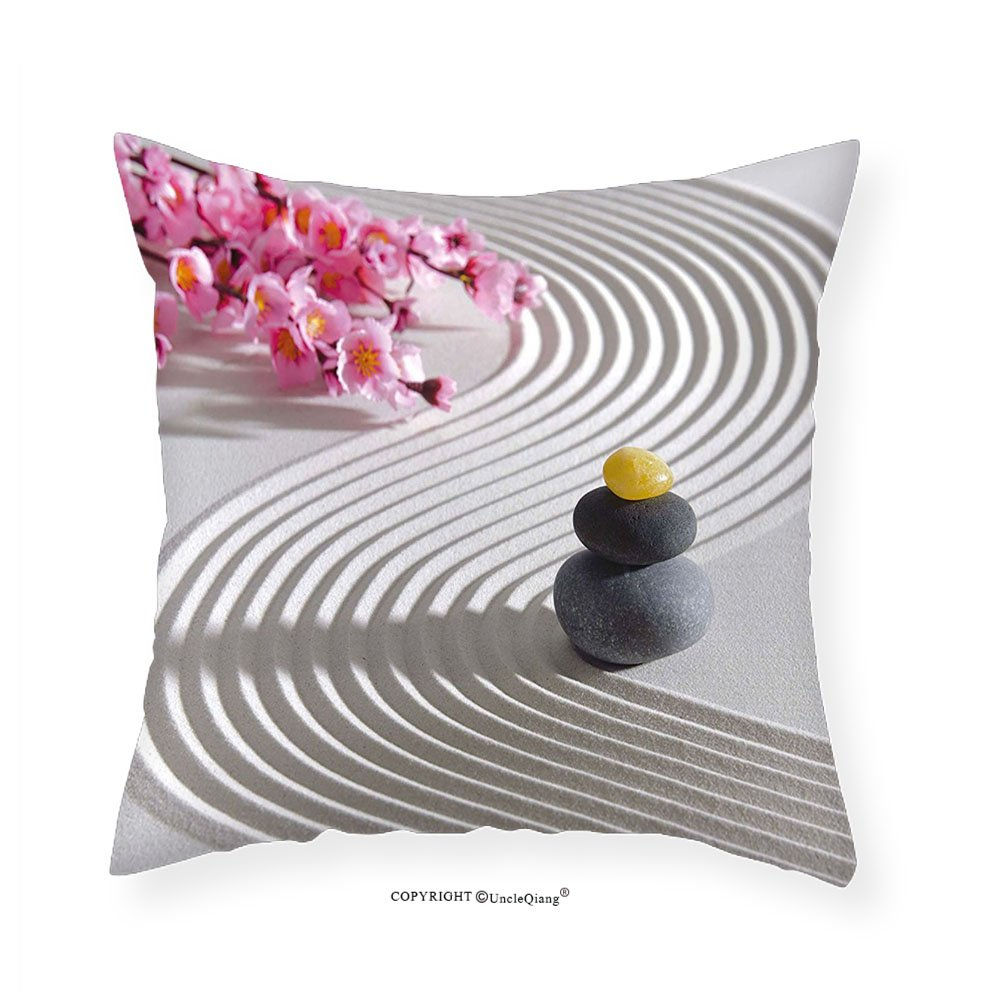 VROSELV Custom Cotton Linen Pillowcase Spa Japanese Zen Stones of Meditation Sand with Orchids Relax Yoga Spirit Picture for Bedroom Living Room Dorm Pearl Pink Dimgrey 18''x18''