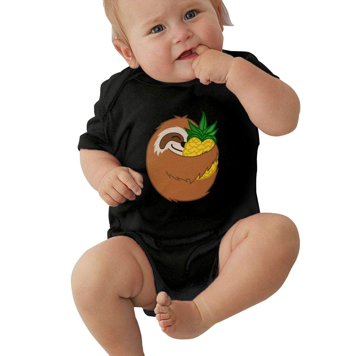 Infant Baby Boys Bodysuit Short-Sleeve Onesie Pineapple Sloth Sloth AABB Print Outfit