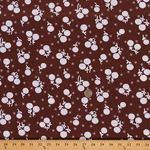 Cotton Jennifer Paganelli Girls World Vibe Flower Floral Cotton Fabric Print by the Yard PWJP059-BROWN