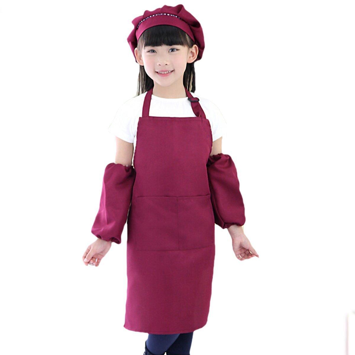 TININNA Kinder Schürze Küche Art Bluse Malerei Töpferei Schule mit Manschettenknöpfe Hut für Jungen Mädchen