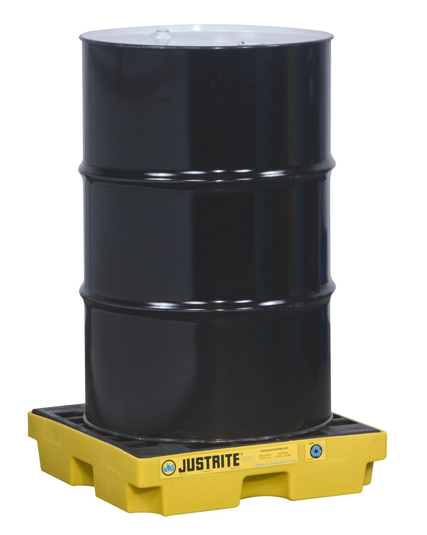 Justrite 28652 EcoPolyBlend 12 Gallon Sump, 25'' x 25'' x 5.5'' (LXWXH) Yellow 1 Drum Modular Accumulation Centers