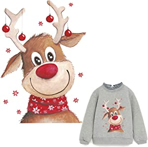 Deer Iron On Patches Elk Heat Transfer Stickers Xmas Design with Christmas Animals Washable Cute Decoration for T-Shirt,Sweatshirt