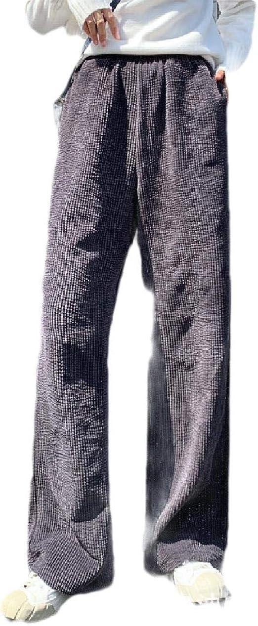 cheelot Women's Corduroy Straight High-waisted Fall Winter Lounge Wide Leg Pants