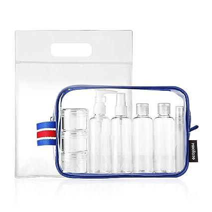 MOCOCITO Neceser Transparente con 8 Botellas de Viaje (MAX.100ml) y 1 Bolsa de Vuelo para Líquidos (20cm x 20cm,1L), Bolsa de Cosméticos Impermeable ...