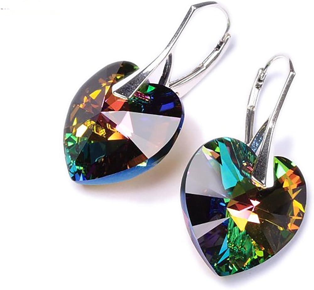 Crystals & Stones * Vitrail Medium Corazón de * * * 14MM Color–925plata pendientes–pendientes con cristales de swarovski elements–Fantástica Pendientes con caja de regalo