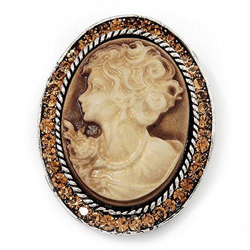 Avalaya Swarovski Crystal Vintage Cameo Brooch (Burn Silver & Brown)