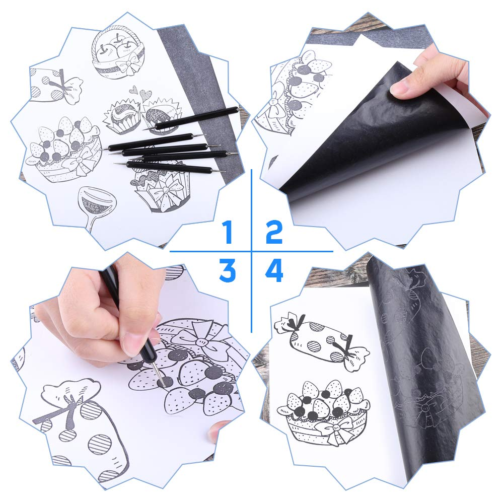 WXJ13 100 Sheets Carbon Paper and 50 Sheets Tracing Paper Off White with 5 Pcs Tracing Stylus Tools for Canvas Wood Porcelain Stone