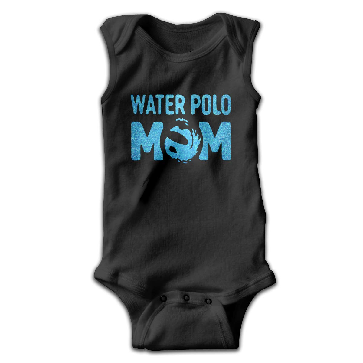Dunpaiaa Blue Glitter Water Polo Mom Smalls Baby Onesie,Infant Bodysuit Black